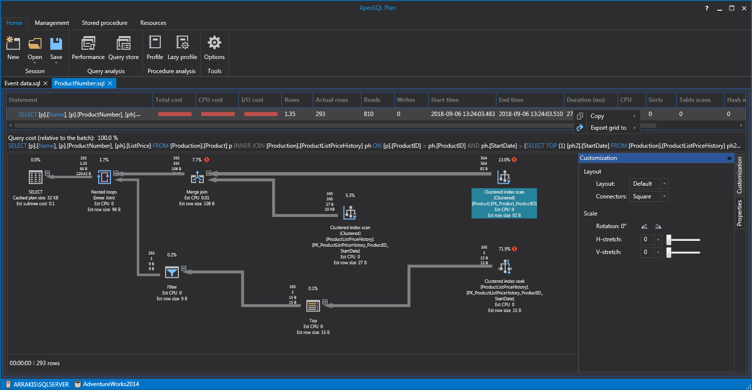 One of our free SQL tools for SQL execution plan visualization, analysis and exploration